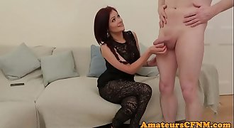 Redhead beauty cocksucking in cfnm action