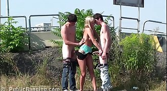 Young blonde teen hottie public gang bang orgy threesome on the street